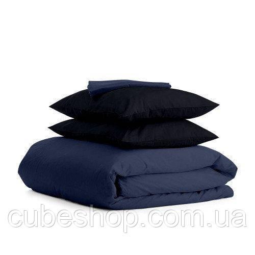 Комплект полуторного постельного белья DARK BLUE BLACK-P (хлопок, сатин)