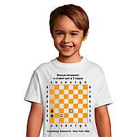 Футболка с шахматной задачей и нанесением фамилии и имени, спортивный дышащий полиэстер - вафелька