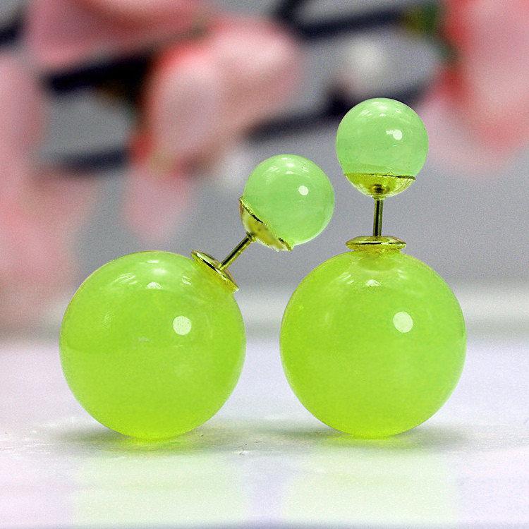 Серьги пуссеты Диор салатовые зелёные