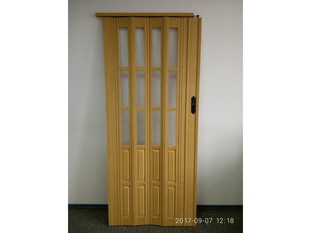 Дверь гармошка межкомнатная полуостекленная, дуб светлый 269, 1020х2030х12мм