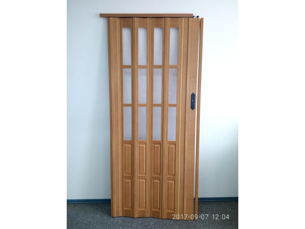 Дверь гармошка межкомнатная полуостекленная, бук 503, 1020х2030х10мм