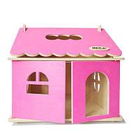 Ляльковий будиночок HEGA ігровий дерев`яний 1  поверховий  рожевий розбірний для дівчаток