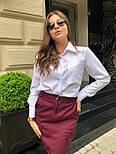 Женский стильный комплект: белая блуза и юбка с накладными боковыми карманами (в расцветках), фото 2