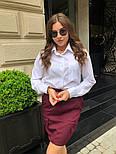 Женский стильный комплект: белая блуза и юбка с накладными боковыми карманами (в расцветках), фото 3