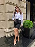 Женский стильный комплект: белая блуза и юбка с накладными боковыми карманами (в расцветках), фото 4