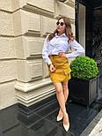 Женский стильный комплект: белая блуза и юбка с накладными боковыми карманами (в расцветках), фото 7
