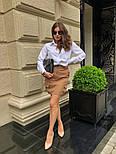 Женский стильный комплект: белая блуза и юбка с накладными боковыми карманами (в расцветках), фото 6