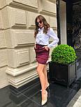 Женский стильный комплект: белая блуза и юбка с накладными боковыми карманами (в расцветках), фото 8
