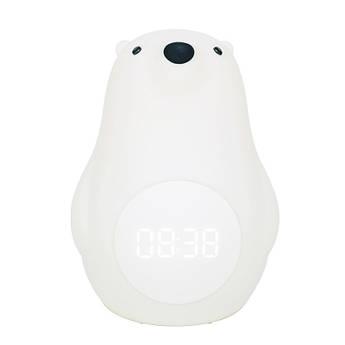 Детский ночник со встроенными часами Белый мишка Berni