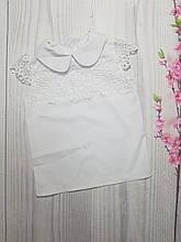 Блузка для девочки с коротким рукавом в школу р.122-146 опт