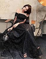 Вечернее блестящее платье . Вечірня сукня. Черное пышное вечернее платье