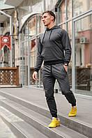 Темно-серый мужской спортивный костюм осенний хлопковый, мужской трикотажный повседневный костюм для бега