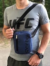 Мужская барсетка Темно-синяя Спортивная сумка через плечо Рибок, Чоловіча барсетка через плече Синя