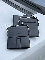 Мужская сумочка кросс-боди кожзам черный Код 0140-01