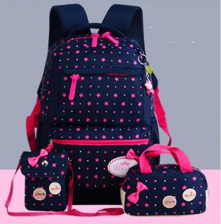 Рюкзак детский Набор 3 в 1 для девочки 4 цвета. Звездный принт. В подарок брелок свинка Пеппа.