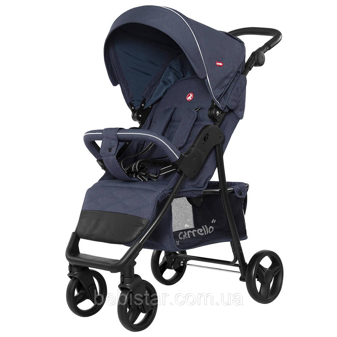 Детская прогулочная коляска синяя, дождевик, черная рама CARRELLO Quattro CRL-8502/2 Admiral Blue в льне