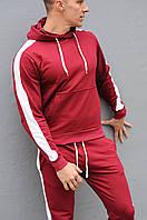 Бордовая худи с лампасами (толстовка с капюшоном, кофта, кенгурушка)