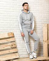 Мужской спортивный костюм (серая худи с лампасами и серые  спортивные штаны с лампасами)