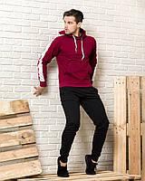 Мужской спортивный костюм (бордовая худи с лампасами и черные  спортивные штаны)