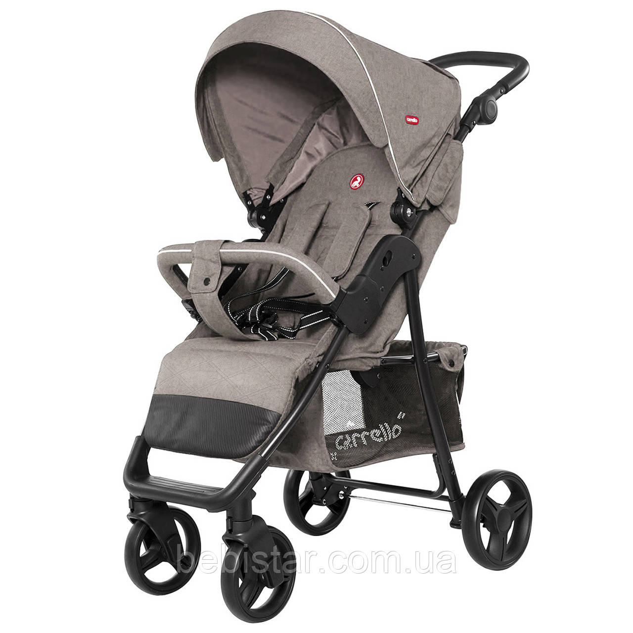 Детская прогулочная коляска бежевая, дождевик, черная рама CARRELLO Quattro CRL-8502/2 Frost Beige в льне