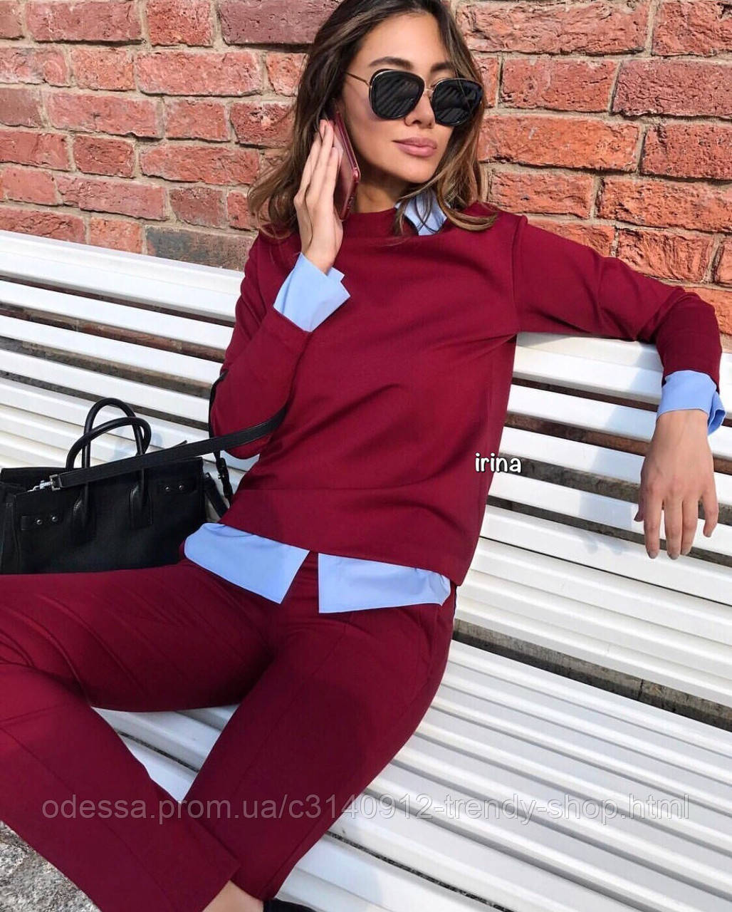 Костюм женский стильный чёрный, красный, бордо, беж, бутылка, графит, голубой