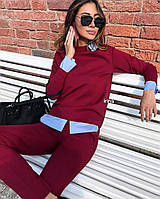 Костюм женский стильный чёрный, красный, бордо, беж, бутылка, графит, голубой, фото 1