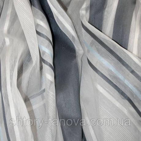 Органза максим полоса сталь/голубой