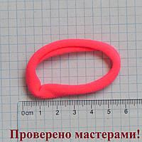 Резинка для волос 6 см диаметр, розовая неон, 1 шт
