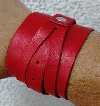 Напульсник кистевой кожаный, размер универсальный красный, синий
