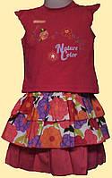 Яркий детский летний костюм: малиновая блуза и юбка в цветы, р. 80, 86 см