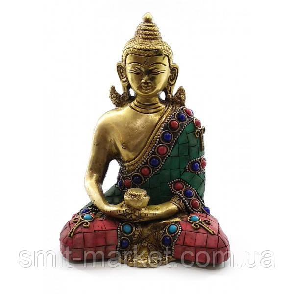 Будда бронзовый бирюза, кораллы (15х11,5х7,5 см)