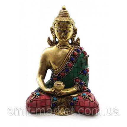 Будда бронзовый бирюза, кораллы (15х11,5х7,5 см), фото 2