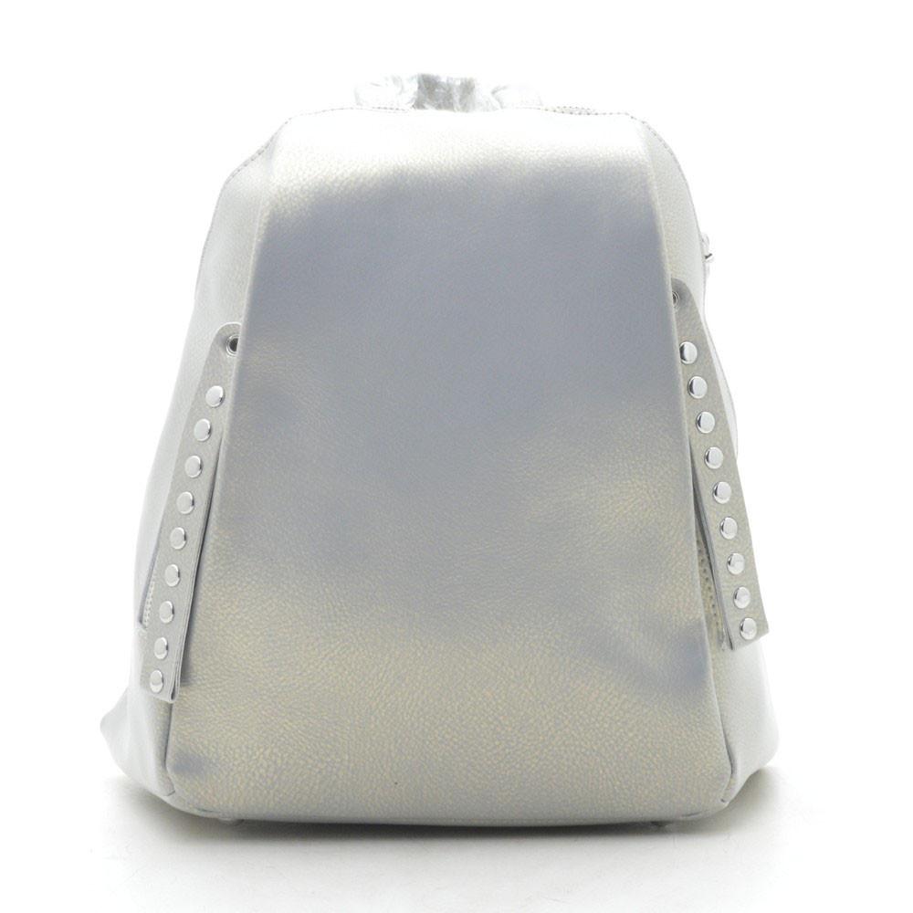 Рюкзак женский кожаный серебристый 185186