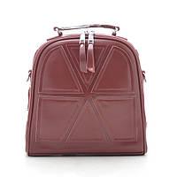 Женский рюкзак-сумка кожаный бордовый (темно красный) 185194, фото 1