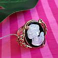 Серебряное винтажное кольцо с позолотой и перламутром Камея - Женское кольцо позолоченое, фото 8