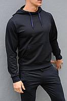 Темно-синяя мужская толстовка (худи с капюшоном, кофта, кенгурушка)