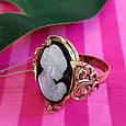Серебряное винтажное кольцо с позолотой и перламутром Камея - Женское кольцо позолоченое, фото 5