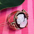 Серебряное винтажное кольцо с позолотой и перламутром Камея - Женское кольцо позолоченое, фото 4