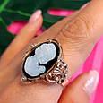 Серебряное винтажное кольцо с позолотой и перламутром Камея - Женское кольцо позолоченое, фото 3
