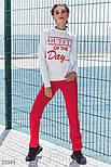 Повседневный спортивный костюм из трикотажа со свитшотом красный, фото 2