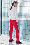 Повседневный спортивный костюм из трикотажа со свитшотом красный, фото 4