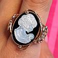 Серебряное винтажное кольцо с позолотой и перламутром Камея - Женское кольцо позолоченое, фото 2