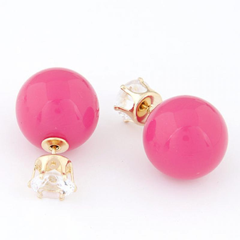 Серьги пуссеты с камнями розовые, кофейные