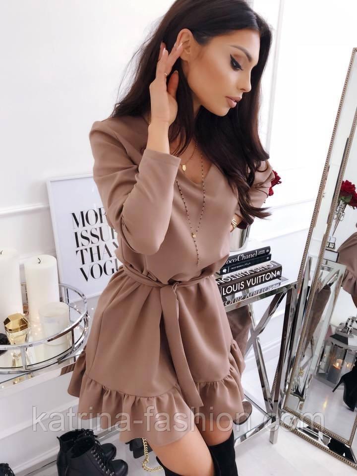 Женское платье прямое с рюшами и поясом (2 цвета)