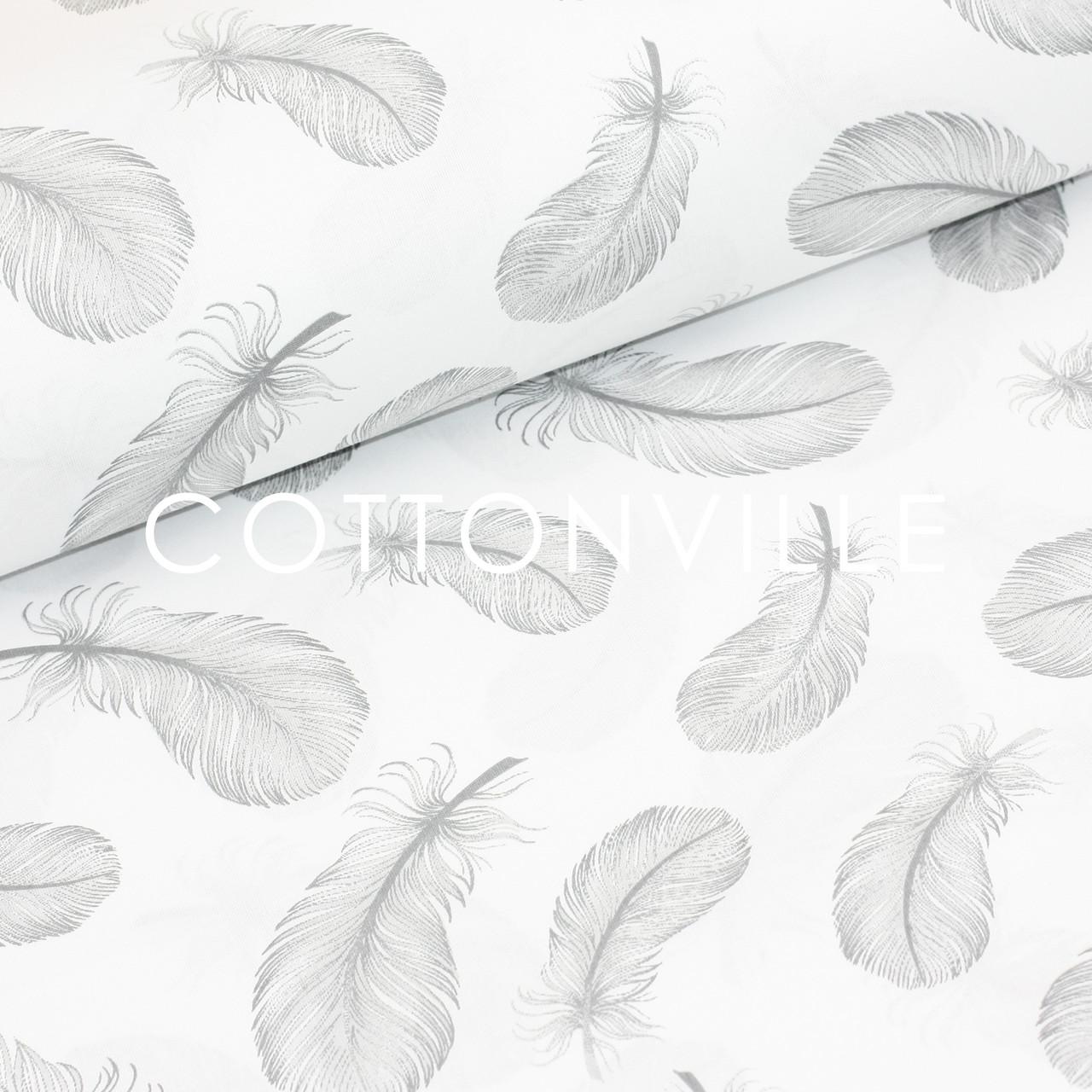 Бязь Перышки серые на белом