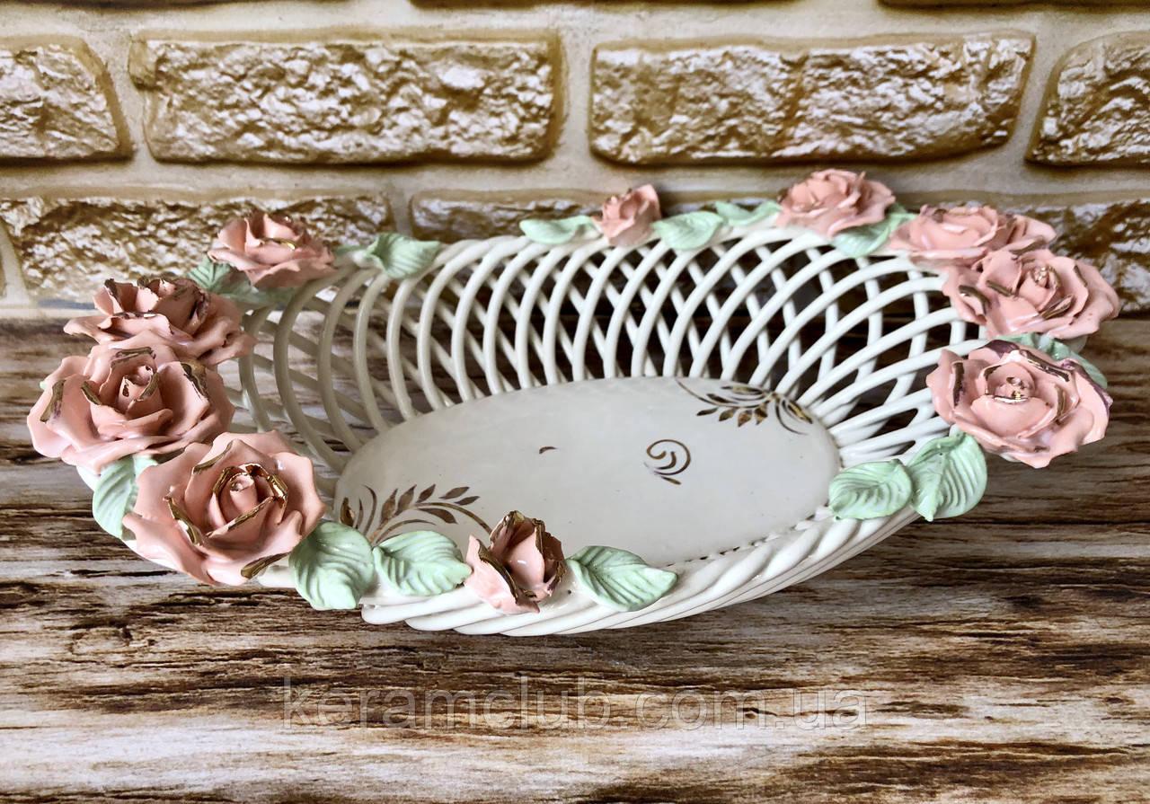 Цукерниця Олександрія Керамклуб плетінка квіткова ліплення 33см