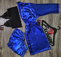 Синий атласный халат+  пижама( топ и шорты)-комплект одежды для сна..