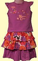 Яркий детский летний костюм: сиреневая блуза и юбка в цветы, р.92 см.