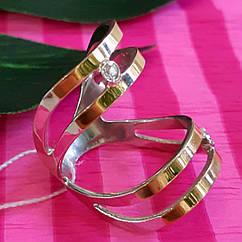 Серебряное кольцо с золотыми накладками - Кольцо на фалангу серебро с золотом - Стильное кольцо минимализм