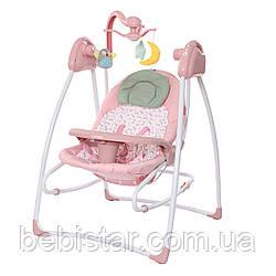 Кресло-качалка шезлонг 3в1 розовая питание от сети и батареек CARRELLO Grazia CRL-7502 Bow Pink с рождения